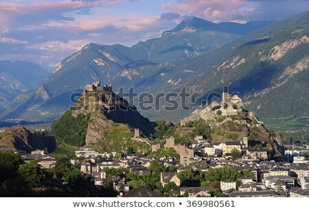Suisse château ville paysage neige église Photo stock © lightpoet
