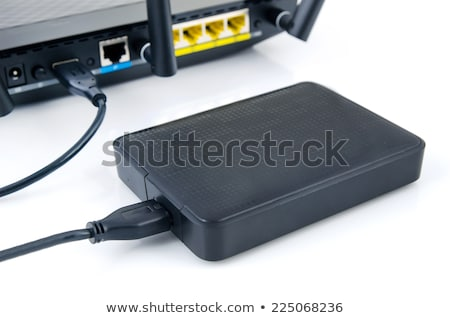 router with backup storage disk dlna media server from usb disk stock photo © simpson33