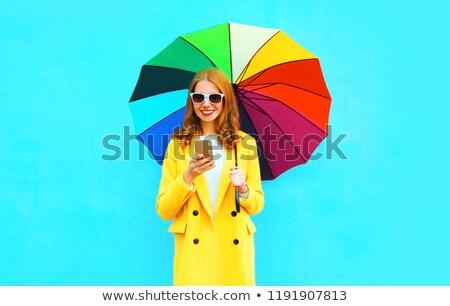 élégante dames coloré parapluies filles printemps Photo stock © majdansky