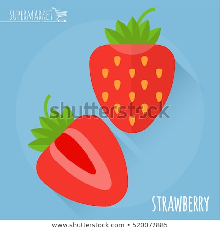 Foto d'archivio: Strawberry Flat Icon Illustration With Long Shadow