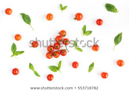 Crudo macarrones tomate albahaca primer plano blanco Foto stock © Rob_Stark