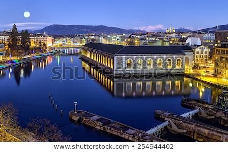 Stockfoto: Kathedraal · toren · rivier · Zwitserland · hdr