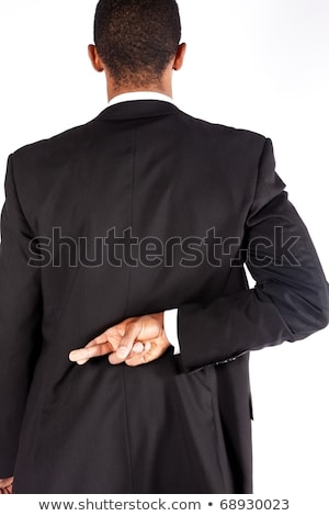 untrustworthy, lying, business man fingers crossed Stock photo © godfer