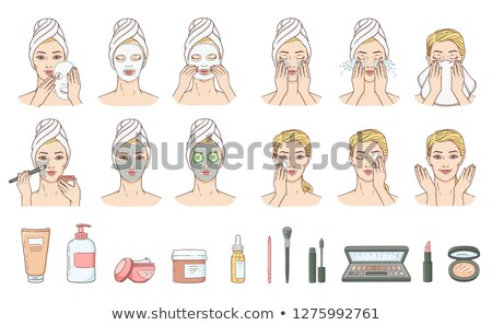 Set girl skin care face washing and application of the cream Stock photo © UrchenkoJulia