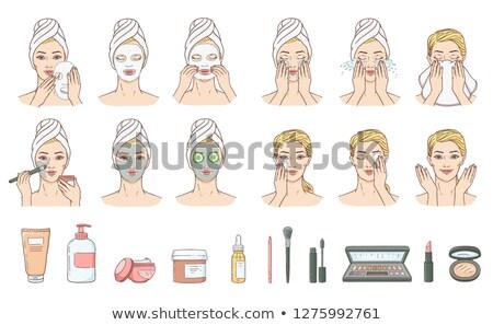 hermosa · niña · spa · mujer · tocar · cara · cuidado · de · la · piel - foto stock © urchenkojulia