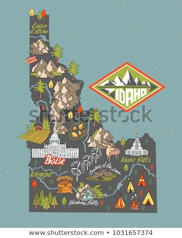 Idaho kaart geïsoleerd witte USA amerika Stockfoto © speedfighter