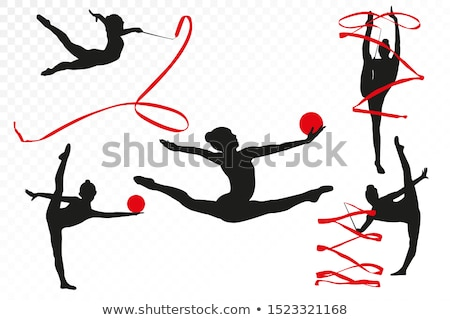 Kid girl ball rhythmic gymnastics exercise on white Stock photo © lunamarina
