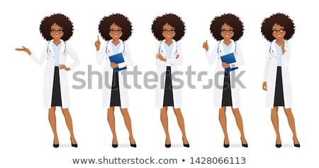 Kadın Afrika doktor düşünme portre Stok fotoğraf © HASLOO