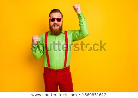 портрет экстатический человека зеленый рубашку Сток-фото © ozgur
