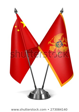 Китай Черногория миниатюрный флагами изолированный белый Сток-фото © tashatuvango