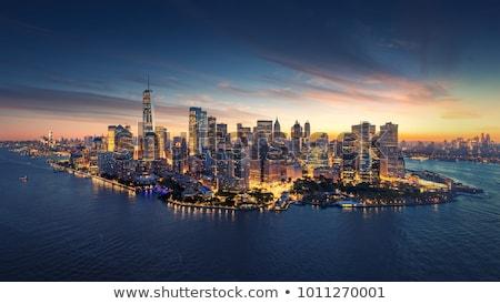 Luchtfoto Manhattan skyline zonsondergang New York City hemel Stockfoto © gabor_galovtsik