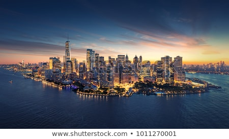 Aerial view of Manhattan skyline at sunset, New York City Stock photo © gabor_galovtsik