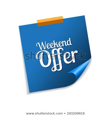 Hétvége ajánlat kék cetlik vektor ikon Stock fotó © rizwanali3d