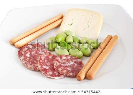 feijões · salame · queijo · fatias · branco · prato - foto stock © antonio-s