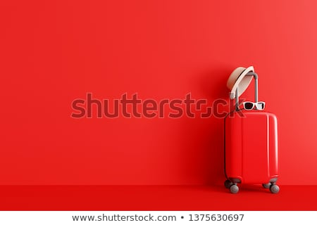 Red luggage on the floor Stock photo © tang90246