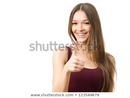 Happy Young Mixed Race Woman With Thumbs Up on White Stock photo © feverpitch