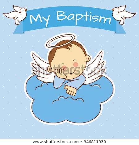 Pocztówkę chrzest dziecko niebieski chłopca funny Zdjęcia stock © adrenalina