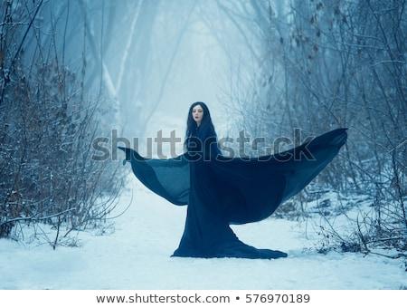 Vonzó lány angyalszárnyak hátulnézet vonzó fiatal lány visel Stock fotó © nyul