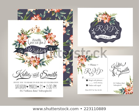 Vintage invitation card with abstract floral design Stock photo © Morphart