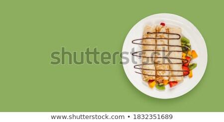 Naleśnik truskawki czekolady mięty tablicy Zdjęcia stock © zhekos