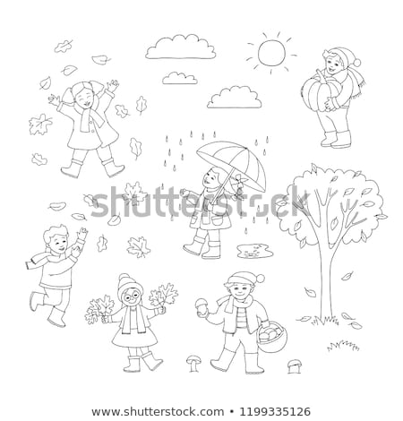 little girl collect maple leafs in the autumn in park Stock photo © Paha_L