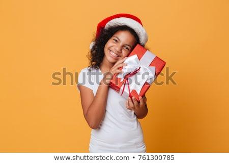 nina · sombrero · Navidad · regalo · mirando - foto stock © master1305