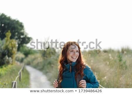 счастливым пеший турист сидят горные Сток-фото © dash