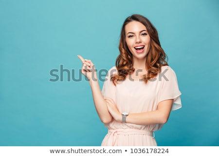 belo · mulher · jovem · indicação · isolado · branco · menina - foto stock © deandrobot