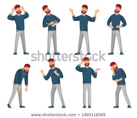 Happy young man with glasses and casual clothes icons  Stock photo © ra2studio
