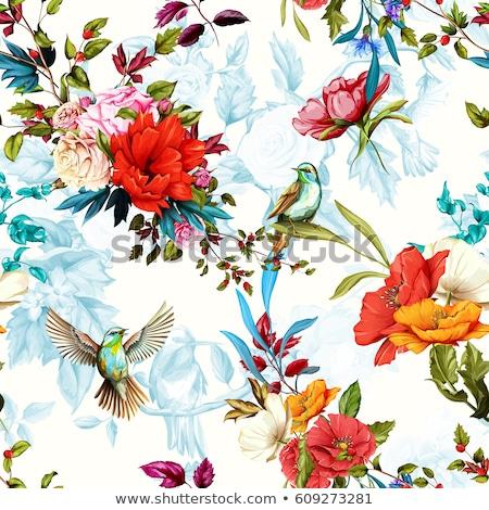 madárfészek · fenyőfa · ágak · négy · kék · tojások - stock fotó © -baks-