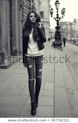 Girl in leather jacket and boots Stock photo © svetography