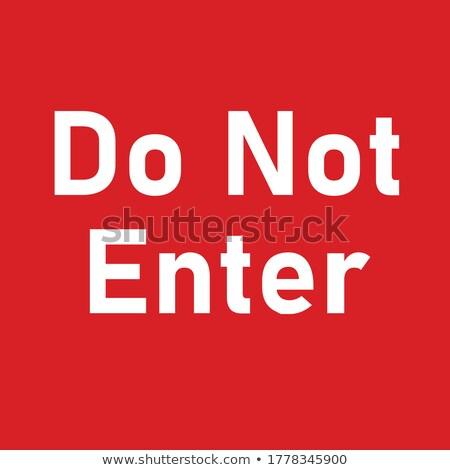 nem · piros · figyelmeztető · jel · izolált · fehér · kereszt - stock fotó © zerbor