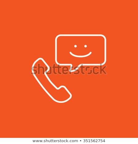 Receiver with speach square line icon. Stock photo © RAStudio