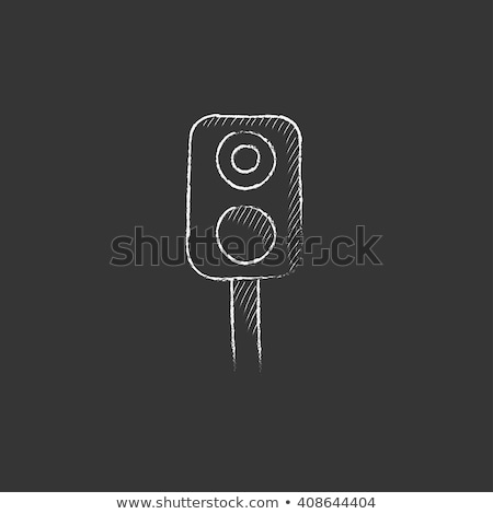 Railway traffic light. Drawn in chalk icon. Stock photo © RAStudio