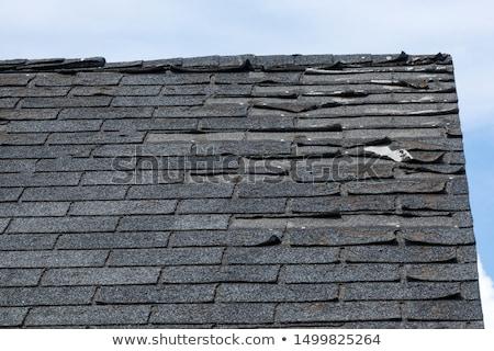 Stok fotoğraf: Eski · çatı · turuncu · fayans · ev · mavi · gökyüzü
