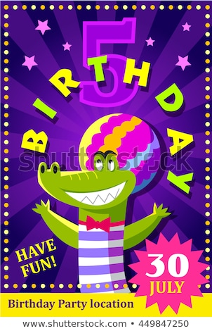 birthday party poster or flier for kids with a cute crocodile