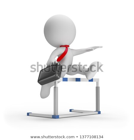 sportsman overcoming an obstacle in a white background 3d image stock photo © iserg