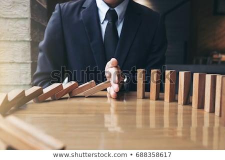 Risiko Holztisch Wort Büro Sicherheit Bildung Stock foto © fuzzbones0