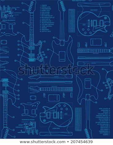 エレキギター 青写真 現代 固体 ボディ 青 ストックフォト © Bigalbaloo