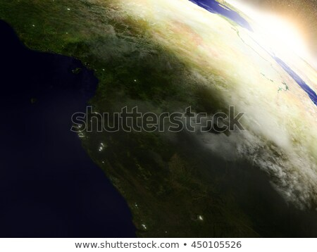 Cameroon, Gabon and Congo from space during sunrise Stock photo © Harlekino