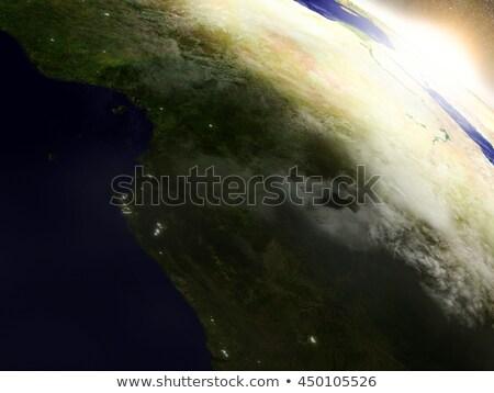 Cameroon, Gabon and Congo from space during sunrise Stock photo © Harlekino