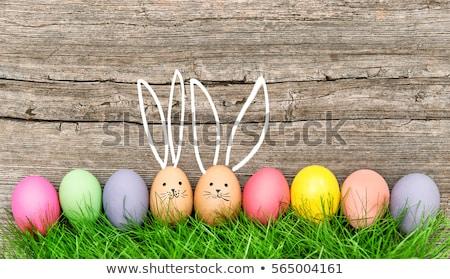 Húsvéti tojások nyuszi virágok asztal jókedv tojások Stock fotó © user_11224430