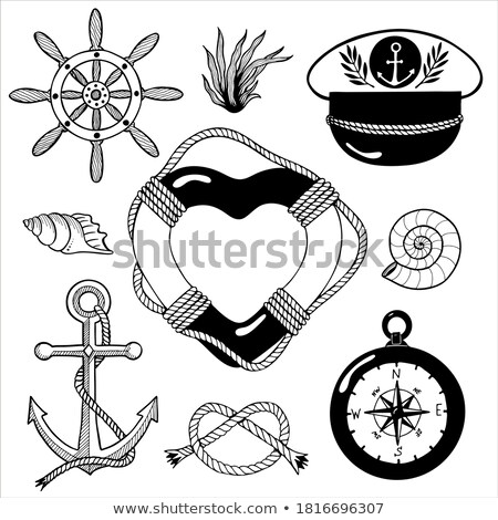 Marine heart icon set of anchor and compass Stock photo © adrian_n