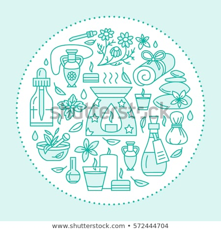 Aromatherapy and essential oils brochure template. Vector line illustration of diffuser, oil burner, Stock photo © Nadiinko