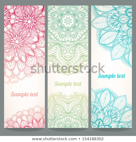 floral banners set of three in different colors stock photo © sarts