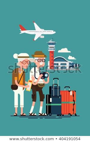 Utazás aggkor vektor terv idős pár Stock fotó © robuart
