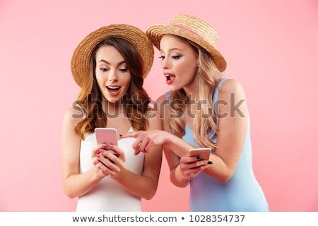 肖像 笑みを浮かべて 少女 水着 麦わら帽子 かわいい ストックフォト © deandrobot