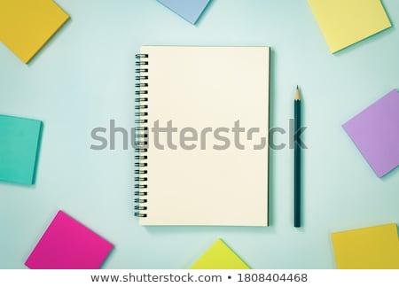 Couleur crayons sticky notes pastel rose bleu Photo stock © Bozena_Fulawka