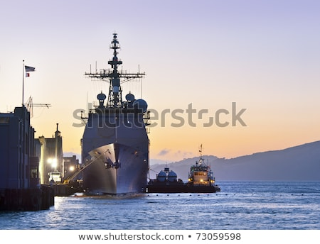 Military navy ships in a sea bay Stock photo © vapi