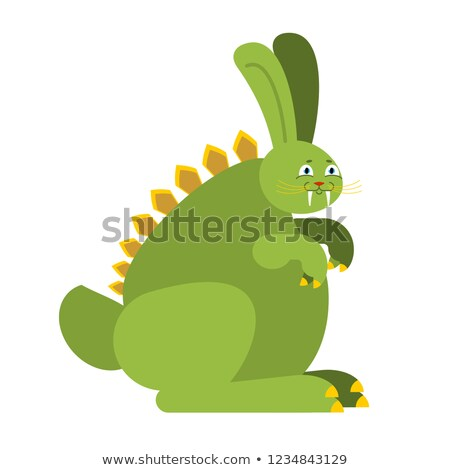 Prehistoric rabbit dinosaur. Dino Bunny. Raptor hare Monster Stock photo © popaukropa
